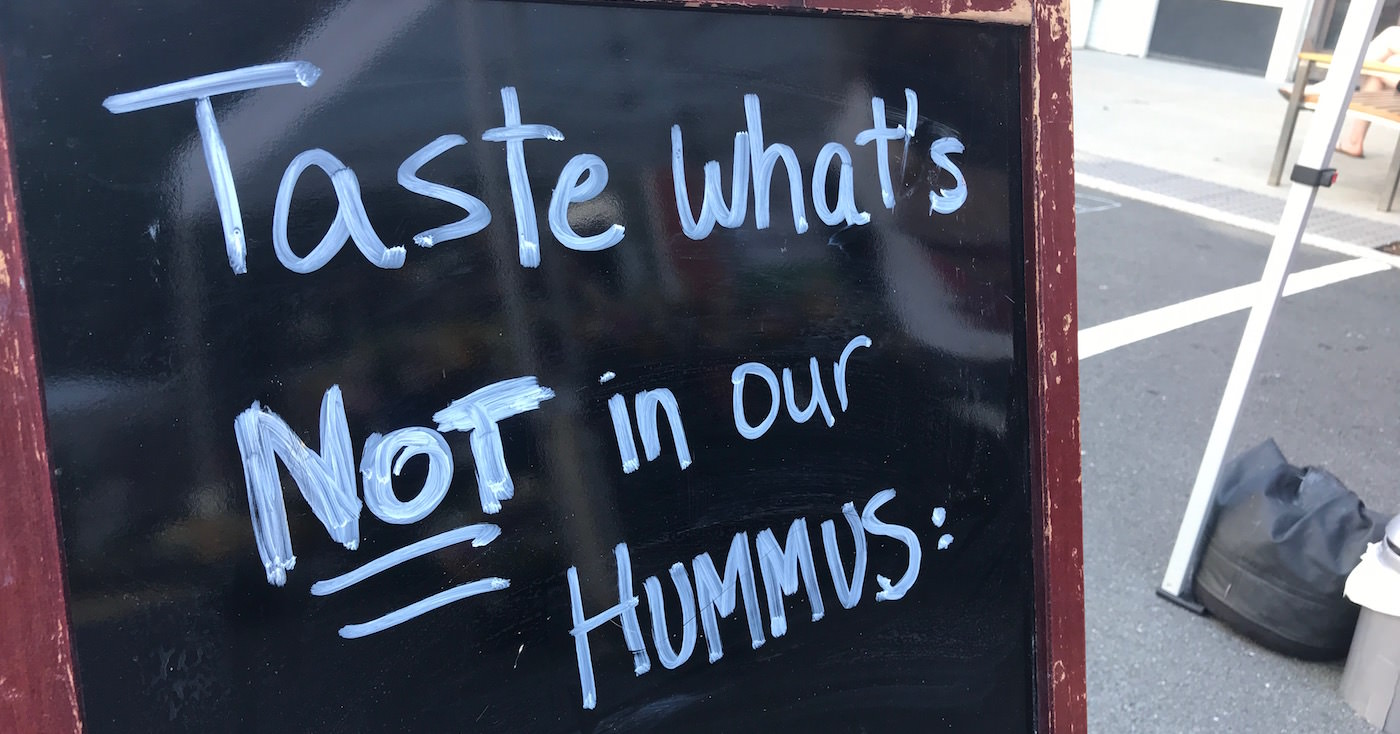 unique branding hummus sign