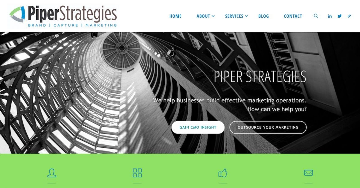 screenshot of Piper Strategies website - redesign and redevelopment project
