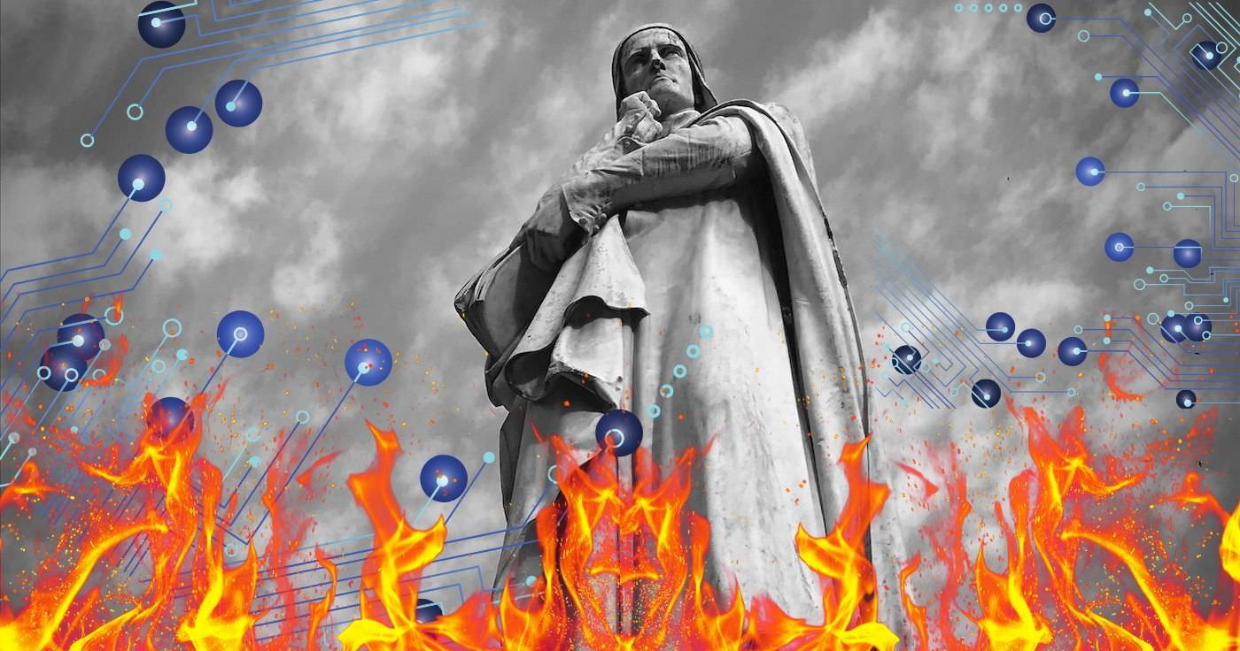 graphic of Dante Alighieri - for blog post by Nicholas Kosar: 6 Marketing Practices That Digital Dante Would Consign to the Inferno